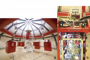 Figure 2: Large diameter centrifuge and experimental device at the LDC.